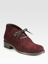 Menswear-inspired suede design with a stacked heel and lace-up front. Stacked heel, 1¼ (30mm)Suede upperLeather liningLeather and rubber solePadded insoleMade in ItalyOUR FIT MODEL RECOMMENDS ordering true size.