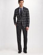 A modern-day must that embodies your unique sartorial style: a bold windowpane design mixes with subtle lavender detail for ultimate work-to-weekend versatility. Three button rolls to a two-button closure Notch lapel Chest ticket pocket Waist flap pockets About 28¾ from shoulder to hem 69% polyester/29% viscose/2% elastane Dry clean Made in Italy