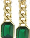 Anne Klein PALATINE Gold-Tone Emerald Colored Drop Earrings
