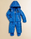 Quilted puffer design makes this snowsuit perfect for everything from snowball fights to beginner ski lessons. Stand collar with double snap closure and zip-out hood Front zip closure Dual zip pockets Removable mittens and footies attached with snap closures Pants have changeable suspender straps with snap closures Pants have an elastic waist Polyester Nylon lining Machine wash Imported