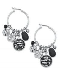 Add a charming allure to any look with these rhodium-plated hoop earrings from Style&co. Dangling zebra and glass seed beads add the perfect amount of polish. Approximate drop: 2 inches.