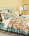 The Elizabetha comforter set from Martha Stewart Collection offers an exotic look for the bedroom, featuring a striking floral pattern in a vibrant palette of yellow, orange, red and blue. Bedskirt, shams and European shams complete the look with coordinating colors and patterns.