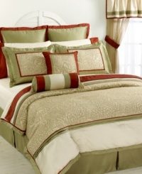 The Camellia comforter set reflects a fresh, natural elegance as an exquisite floral motif sits on a ground of tan and green with crisp pops of red. Solid-colored elements, embellished decorative pillows and sheer window panels complete the look for an instant update.