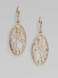 A delicate filigree-inspired oval, decorated in dazzling diamonds set in warm 18k rose gold. 18k rose goldDiamonds, .12 tcwDrop, about 2Hook backMade in Italy