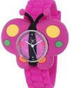 Frenzy Kids' FR2004 Butterfly Critter Face With Purple Rubber Band Watch
