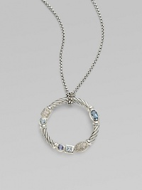 From the Confetti Collection. A wreath-shaped cable pendant, luxuriously set with pavé diamonds and other gemstones, dangles from a sterling silver chain. Diamonds, 0.05 tcw Blue topaz and iolite Sterling silver Chain length, about 16 Pendant diameter, about 1 Lobster clasp Made in USA