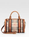 Iconic check highlights this structured bag of durable canvas, finished with rich leather trim and dual straps for versatility.Double top handles, 4 dropAdjustable removable shoulder strap, 21-23½ dropTop zip closureOne inside zip pocketTwo inside open pocketsCotton lining12¼W X 9½H X 4¾DImported