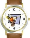 Basketball, Hoop, Backboard, Swish Basketball Theme - WATCHBUDDY® DELUXE TWO-TONE THEME WATCH - Arabic Numbers - Brown Leather Strap-Women's Size-Small