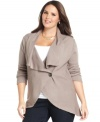 A must-have layering piece for the season: Design 365's ribbed plus size cardigan.