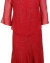 R&M Richards Women's Beaded Crepe Long Dress with Jacket