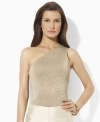 The timeless glamour of a petite one-shoulder silhouette combines with the sleek shimmer of metallic threads for an effortlessly chic look from Lauren by Ralph Lauren. (Clearance)