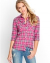GUESS Long-Sleeve Plaid Top