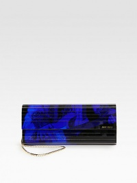 This rock n' roll-inspired acrylic clutch can be worn on the shoulder with a versatile chain strap. Detachable chain shoulder strap, 18¼ dropMagnetic snap closure on front flapOne inside open pocketSatin lining9½W X 4H X 1¼DMade in Italy