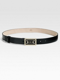 A smooth leather belt with horsebit-accented buckle in light gold hardware.About 1 wideMade in Italy