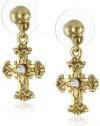 The Vatican Library Collection Gold-Tone Adorned Cross Earrings