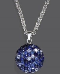 Life's a ball -- express it with playful style like Balissima by Effy Collection's sparkling circle pendant. Crafted in sterling silver, a gradation of blue round-cut sapphires (3-1/10 ct. t.w.) add instant shine. Approximate length: 18 inches. Approximate drop: 1 inch.