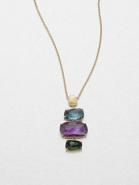 From the Murano Collection. Stunning multicolored, faceted stones set in hand-crafted 18k gold on a delicate link chain. Green tourmaline, amethyst and blue topaz18k goldLength, about 17Pendant size, about 2Lobster clasp closureMade in Italy