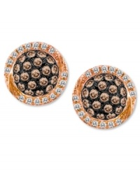 Pave-set perfection. Le Vian's shimmering stud earrings combine round-cut chocolate diamonds (1/3 ct. t.w.) with white diamond edges (1/10 ct. t.w.) in a pretty oval shape. Set in 14k rose gold. Approximate diameter: 1/4 inch.