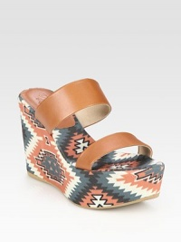 Rich leather slide with a trendy tribal-print linen footbed and wedge. Self-covered wedge, 4 (100mm)Covered platform, 1 (25mm)Compares to a 3 heel (75mm)Printed linen and leather upperLinen liningRubber solePadded insoleImportedOUR FIT MODEL RECOMMENDS ordering true size.