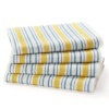 Blue Yellow Stripe - 4 Pack Oversized Kitchen Towel sets by Cotton Craft - Size 20x30 - Pure 100% Cotton - Crisp Basketweave striped pattern with a hanging loop - Highly absorbent, soft & sturdy - Other colors - Spice, Green, Linen, Red Blue, , Coral & Pe