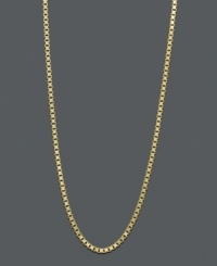 Pair your favorite pendant with this stately chain, or wear it solo for a simple statement. Necklace features a box link chain crafted in 14k gold. Approximate length: 18 inches.
