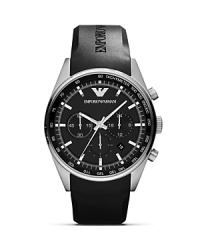 Equal parts sporty and sleek, this matte black watch from Emporio Armani encapsulates easy accessorizing. With a dynamic rubber band and advanced analog movement, it's a timely investment.