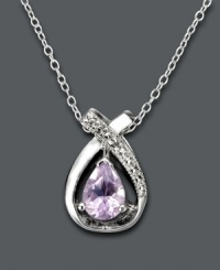 Subtle sparkle in pale pastel color. This elegant pear-shaped pendant by Victoria Townsend features an amethyst center stone (7/8 ct. t.w.) cradled in a diamond-accented sterling silver setting. Approximate length: 18 inches. Approximate drop: 5/8 inch.