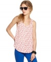 An irreverent bird print adds a pop of color to this relaxed Bar III tank -- perfect for a laid-back spring look!