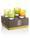 Let the scents of golden solstice, naran ji, nightingale song and night tempest piccolo candelas illuminate your world. Set includes: 4 candles. Burn time: About 8 hours per candle. Made in England.