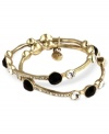 A glamorous combination of sparkling crystals, jet beads and golden tones creates this lovely set of 2 bangle bracelets from Jones New York. Crafted in worn gold tone mixed metal. Approximate diameter: 2-1/2 inches.