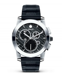 Movado's Vizio® chronograph has a carbon fiber-textured black rubber strap. Solid stainless steel case with tungsten carbide bezel. The black carbon fiber dial has applied markers.