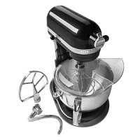 Designed for the home baker with a professional mindset, this versatile stand mixer contains everything you need to mix dough faster and better. Components include wire whip, burnished flat beater, pouring shield and PowerKnead™ spiral dough hook, which replicates hand-kneading to handle 20% more dough than previous models. One-year limited warranty.