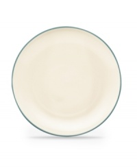 Make everyday meals a little more fun with Colorwave dinnerware from Noritake. Mix and match these coupe dinner plates in turquoise and white with square and rim pieces for a tabletop that's endlessly stylish.