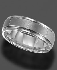 Finish with a bang. This handsome ring is crafted in tungsten. 7 mm band. Sizes 8-15.