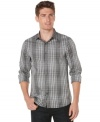 No one reads the small print–bigger is better with this large plaid shirt from Perry Ellis in a modern slim fit. (Clearance)