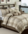 Modern block. Add an air of chic style to your space with this jacquard woven Skyscraper comforter set, showcasing a contemporary design in soft, neutral tones.