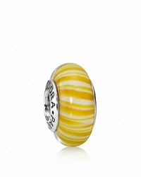 This candy-striped murano glass charm looks sweet enough to eat. Logo-engraved sterling silver trim displays the PANDORA signature.