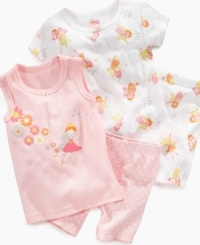 With the wave of a wand, she'll be ready for sleep time in these darling shirts and shorts from Carter's.