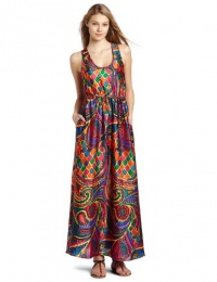 Julie Dillon Women's Printed Maxi Dress With Self Tie, Lobster Multi, 2
