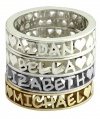 Arabella Stackable Name Ring with Frame in 14k white, yellow, or rose (pink) gold, finger sizes 4 to 9