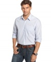 Get a few new ones in your wardrobe. This Kenneth Cole New York striped shirt is a perennial go-to.