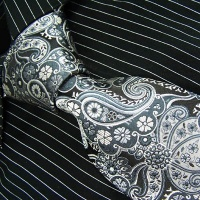 Brand New B. Boss Black Paisleys Silk Mens Neck Tie Zl1062 148cm*9cm Black