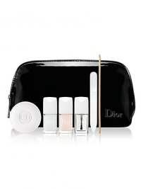 This limited edition collection of essentials for perfectly manicured nails includes Dior's best-selling Creme Apricot nail cream (0.35 oz.), deluxe sizes of Pelline cuticle emollient, Base Coat & Top Coat (0.24 oz. each) and an orange wood stick and nail file, all in a chic patent travel pouch.