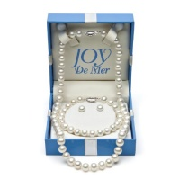 18 7-8mm White Freshwater Pearl and Sterling Silver Necklace, 7.5 Bracelet and Stud Earring Set, Gift Box