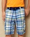 Change your normal cargo pattern with these big plaid shorts from Nautica.