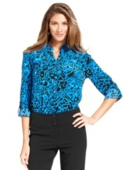 Upgrade your 9-5 closet with Style&co.'s petite shirt -- featuring a super polished graphic print!