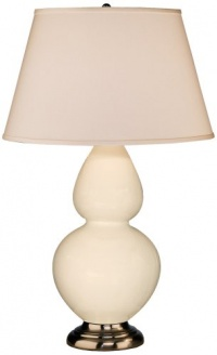 Robert Abbey 1756X Double Gourd - Table Lamp, Antique Silver Finish with Bone Glass with Pearl Dupioni Fabric Shade