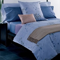 Features the soothing Bamboo Flower duvet and Euro sham. Solid percale Hyacinth and Rhythmic Stripe sheets are 220-thread count, 100% cotton with a pure finish. All accessories imported. Sheets are made in USA of imported cotton.