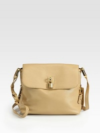 Supple Italian leather shaped in a chic flap silhouette, finished with goldtone hardware and a signature padlock.Adjustable shoulder strap, 16½-22½ drop Magnetic flap closure Protective metal feet One inside zip pocket Cotton lining 13W X 10H X 4½D Made in Italy