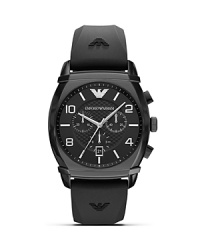 Built for high performance and style, Emporio Armani's matte black watch is a sporty choice. Whether worn with pinstripes or something splashier, this chronograph can keep up.